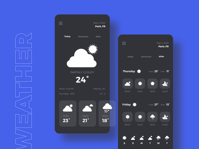 Daily UI #37 - Weather app mobile design clear design darkui darkmode interaction rainy sunny cloudy uidesign mobile ui mobile app weather icon icons weather app weather dailyuichallenge dailyui 037 dailyui