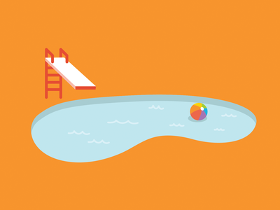 Pool illustration vector illustration graphic design bright illustration pool party beach ball summer pool