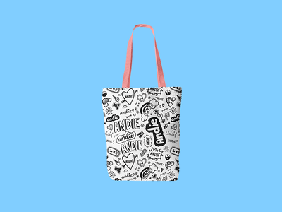 Doodle tote bag pen and ink crush middle school notebook logo sketches doodle