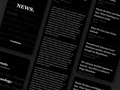 News Reader - Mobile App Concept minimal card news flat ui interactiondesign mobile design mobile app design mobile ui concept design concept ui design mobile