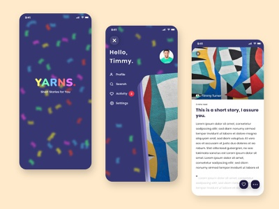 Yarns short stories - Mobile App Concept confetti story mobile splashscreen article navigation neumorphism neumorphic interaction design app design app ux ui illustration design