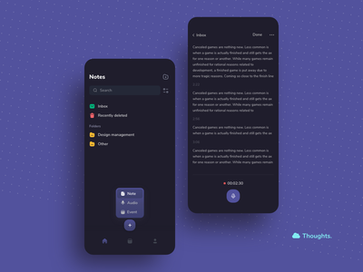 Thoughts - Mobile App Design recording audio event reminder note mobile mobile app design minimal design app design app ux minimal ui design