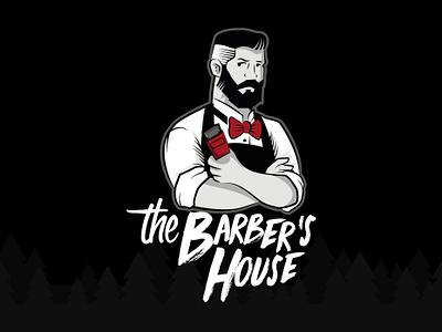 the barber´s house design art vector illustration
