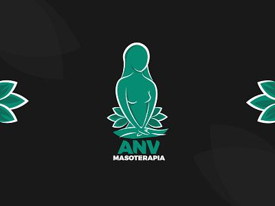 Massage therapy logo flat logo icon art illustration vector girl