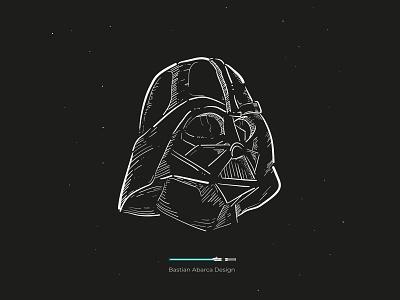 Dark starwars illustartor art flat vector illustration