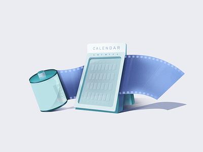 Calenadar shadows blues lightcolors illustration illustration art camerafilm camera film roll calendar