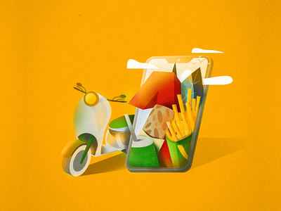 Delivery service vector design illustration art grain service illustration retro drink cola shawarma delivery fries moped