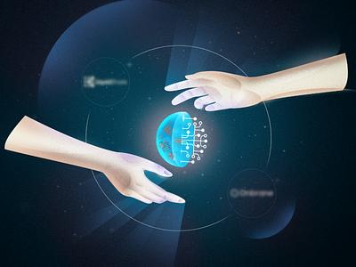 Digitalizing cosmos digitalizing digital space hands technologies finances fin.tech design illustration illustration art