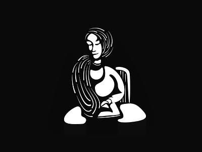 Reading flow logo black and white vector design illustration art illustration icon sticker