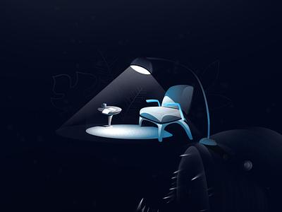 deep sea reader creepy anglerfish creature deepsea underthesea ocean sea vector design illustration art illustration