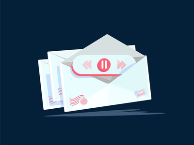 paused email buttons play open shadows floating go stop pause envelope ui logo vector design illustration art illustration