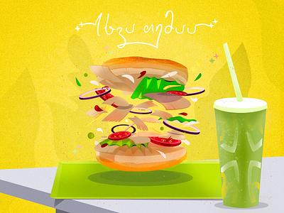 Sandwhich tasty fresh onion tomatoes fastfood grain yellow table cola soda sandwhich burger vector design illustration art illustration