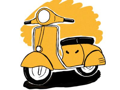 Yellow vespa draw vespa illustration