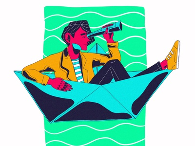 PAPER BOAT SAILOR ilustración character design freelance web illustration illustration