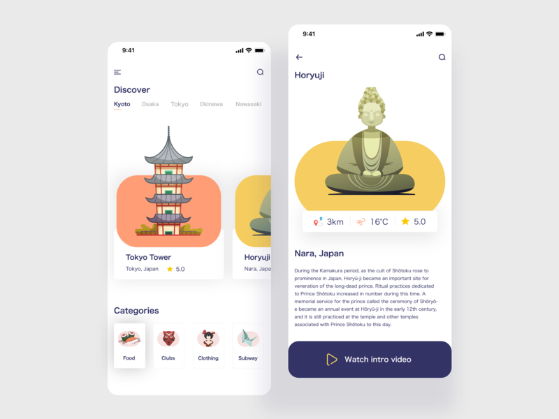 Travel Japan App ux user interface ui typography tripe travel tokyo tab review rating post social mobile minimal clean inspiration japan ios android hotel post layout feed icons experience design card