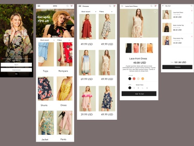 Fashion E-Commerce Mobile app vector app ux ui design