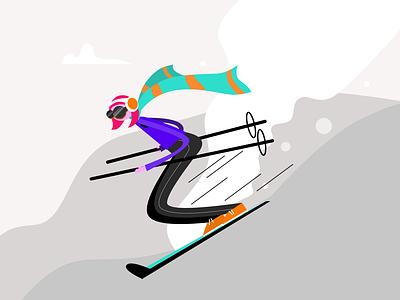 Girl Skiing kanchan gaur minimal website branding vector ui illustration design
