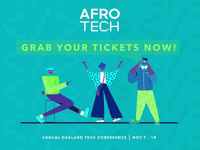 Social Media Assets for AfroTech Conference 2019 @ Blavity Inc kanchan gaur website web vector illustration branding design