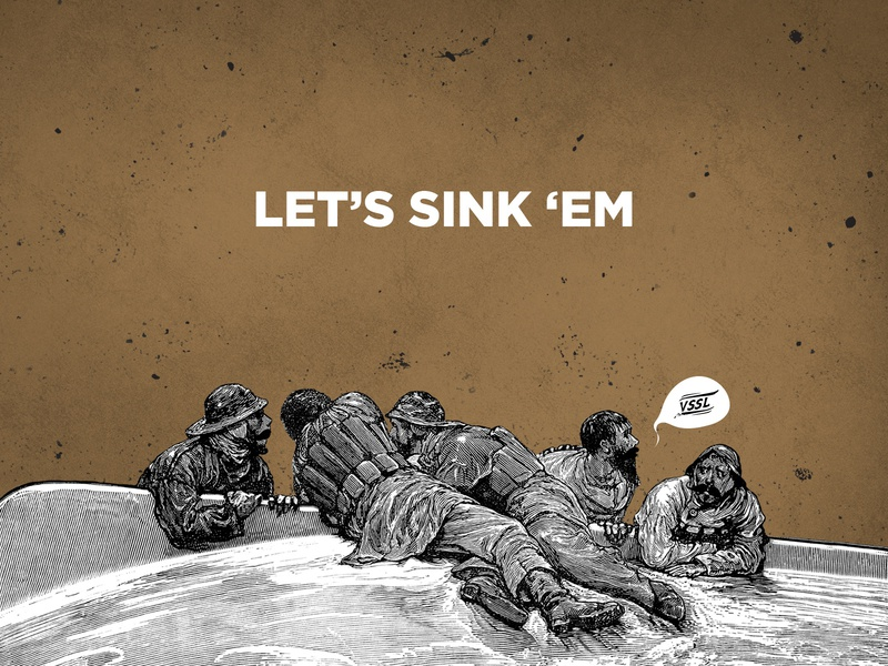Sink Or Swim! treasure pirates vector illustration design first shot hello dribbble debut