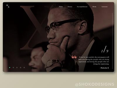 Malcolm X Landing Page figma web ux ui web design malcolm x black history month