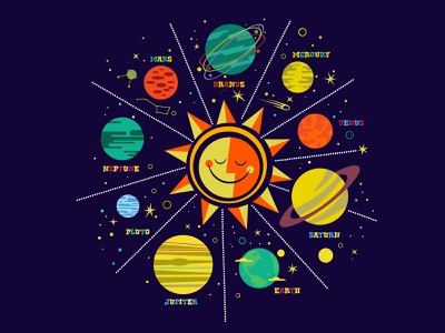 solar system vector design illustraion