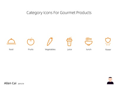 Category Icons For Gourment Products