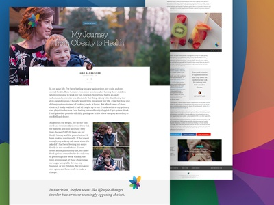 Health and Lifestyle Publication Concept: Story Template mobile web magazine publication health