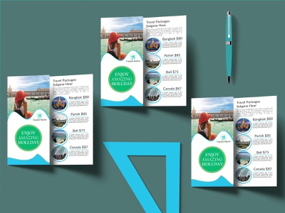 Tri-fold Brochure travel. creative logo graphicdesign card travel brochoure trifold bifold design brochure flyer business card