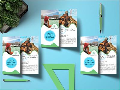 Tri-fold Brochure travel. branding typography design logo graphicdesign creative brochure flyer bifold business card
