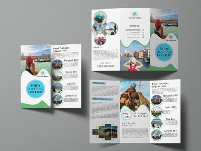 Tri-fold Brochure travel. travel trifold card logo graphicdesign creative brochure bifold flyer business card design