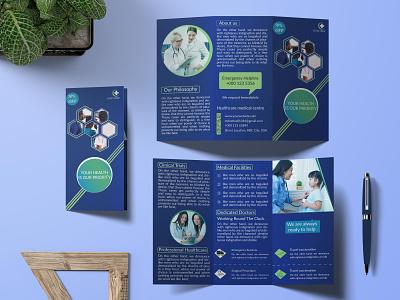 Tri-fold Brochure Hospital hospital trifold brochure design graphicdesign business cards logo creative business card brochure flyer trifold brochure