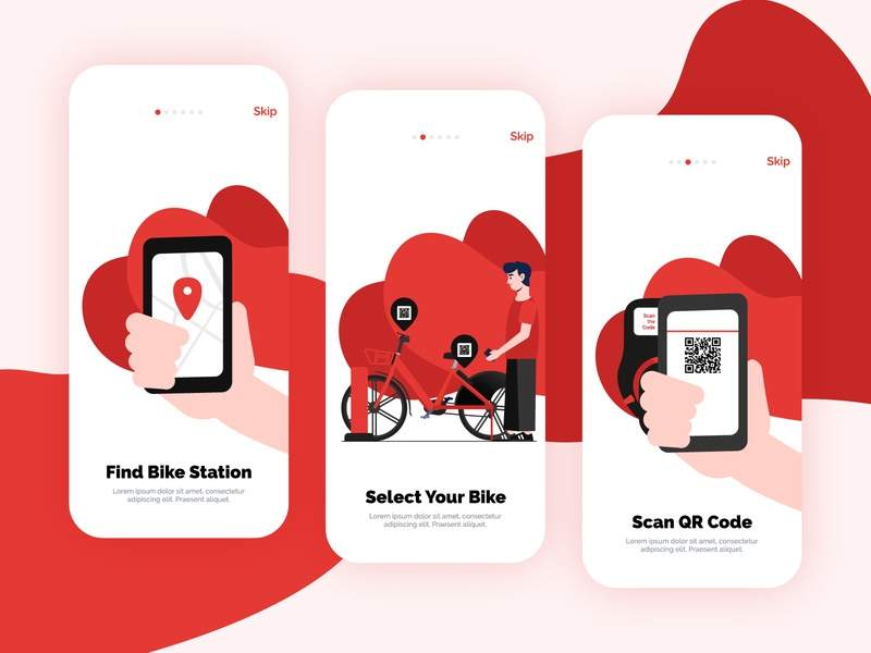 Bike Rental App On-boarding Screens