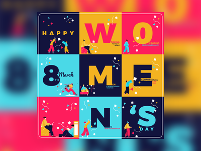 Women's day international womens day 8 march typography illustration design vector
