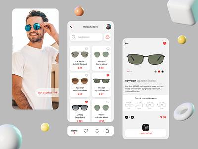 Glasses App abstract app design new design 2d 3d modern design minimal typogaphy ui design ux app mobile app mobile ui ui