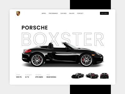 Porsche Boxster car landing page boxster car website landing design web ui website minimal app abstract landingpage design new design ui design modernism ux ui modern design porsche