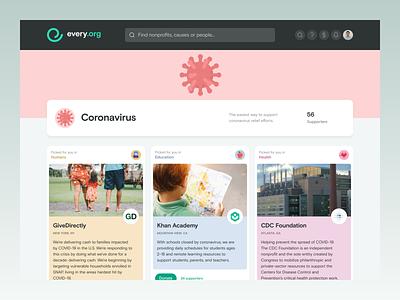 Every.org | Coronavirus design ui support relief virus share giving illustration covid-19 covid19 coronavirus nonprofit charity web app