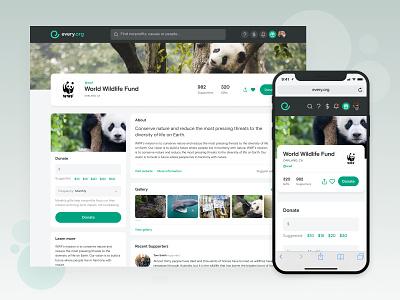 Every.org | Nonprofit Profile desktop mobile app charity web nonprofit ux ui