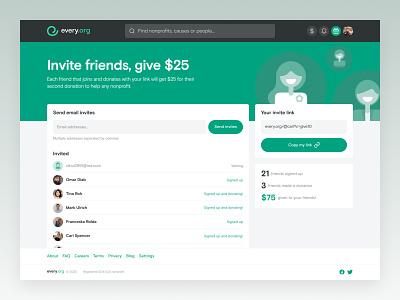Every.org | Invite Friends desktop ux ui web join invite donate bonus charity nonprofit cause app