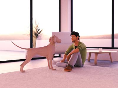 Me & Luna web blender dog aframe 3d lighting rig animation model character webvr xr webxr vr lobby low poly