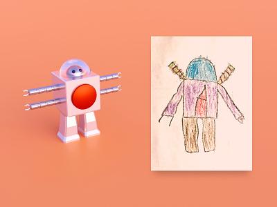 BoBot 4000 kids character blender robot model 3d illustration