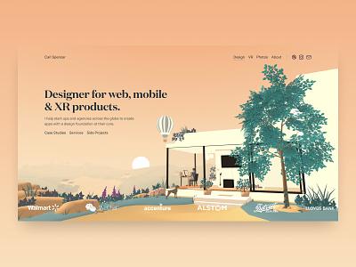 WebXR Portfolio Banner blender lowpoly mobile first responsive web portfolio aframe vr animation 3d xr webvr webxr
