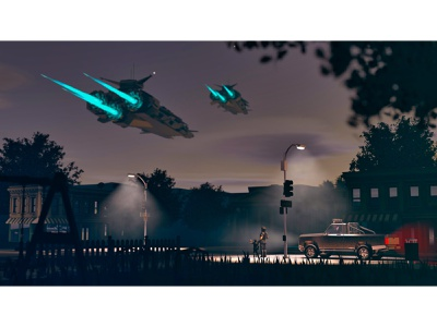 Sci-fi Suburbs scene environment game fantasy spaceship sci-fi night cinema 4d low poly town c4d 3d