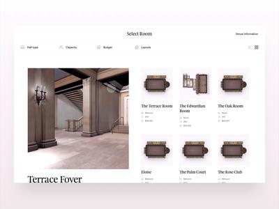 3D Venue Previews layout hover venue hotel web animation 3d