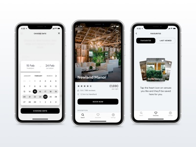 Venues App UI range date venues venue booking iphone ui favorites calendar