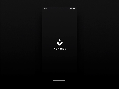 Venues App Welcome Screen venues venue logo welcome login transition animation ux ui ios iphone branding app