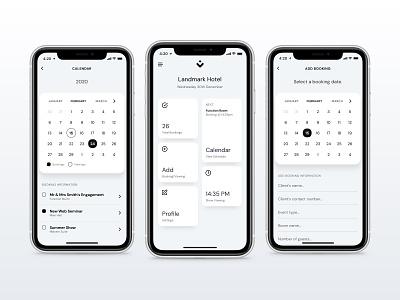 Venues App Dashboard mobile dashboard venues venue ui iphone date calendar booking