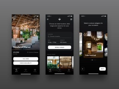 Venues Dark Mode app mobile ui iphone event venues venue calendar booking