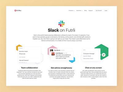 Futrli | Slack Integration Page ui money finance data marketing web post notifications dashboard chart business app animation