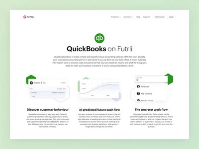 Futrli | QuickBooks Integration Page accounting money finance ui web dashboard chart data business app animation