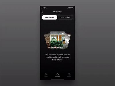 Venues | Favourites ui mobile like favourites animation venues venue iphone ios app